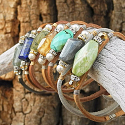 Group of Wired Gemstone and Leather Bracelets - Roca Jewelry Designs