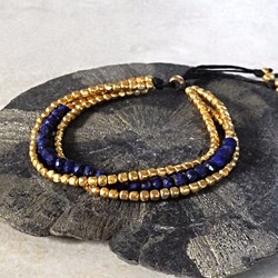 Gold Triple Strand Toggle Bracelet with Lapis - Della Terra Collection