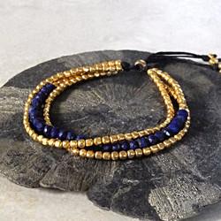 Gold Triple Strand Toggle Bracelet with Lapis - Della Terra Collection