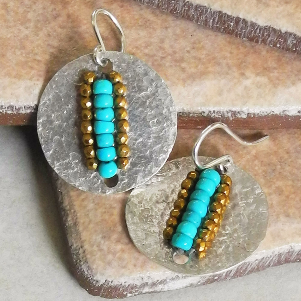 Hammered Sterling Silver Disc Earrings with Turquoise and Pyrite Beads - Hammered Collection