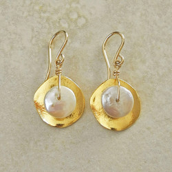 Gold Cornflake Earrings with White Pearl - Ambrosia Collection