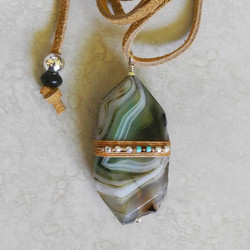 Linen Wrapped Green Agate Pendant on Leather - Roca Jewelry Designs