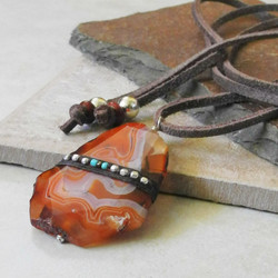 Large Linen Wrapped Orange Agate Pendant on Leather - Della Terra Collection