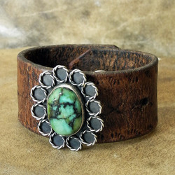 Sky Stone Leather Cuff Bracelet with Stunning Turquoise - Roca Jewelry Designs