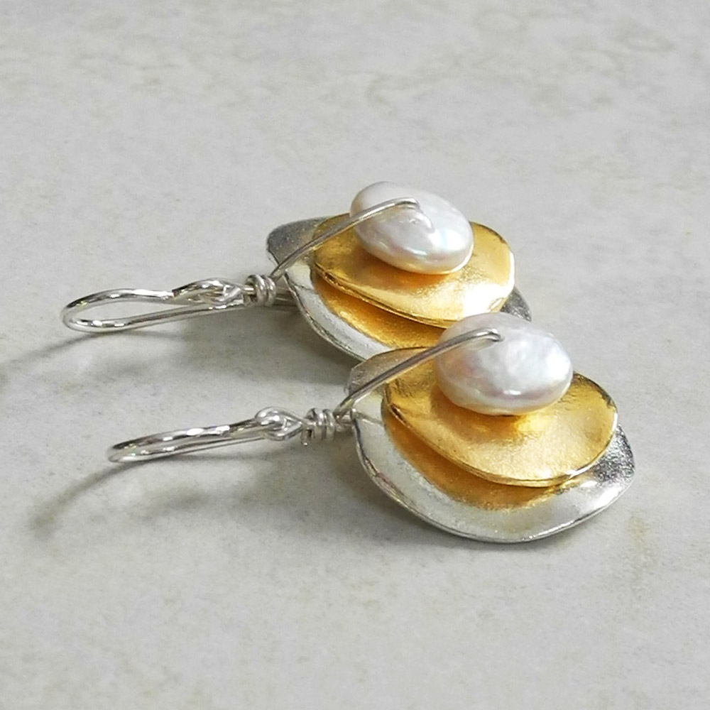 Double Stacked Gold on Silver Cornflake Earrings with White Pearl - Ambrosia Collection