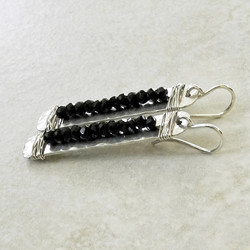 Hammered Silver Rectangle Earrings Wired with Black Spinel - Roca Jewelry Designs