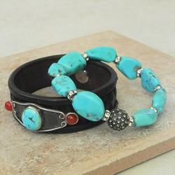 Chunky Turquoise and Rhinestone Bracelet and Sky Stone Bracelet - Roca Jewelry Designs