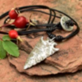 PMC Arrowhead Pendant on Black Leather o