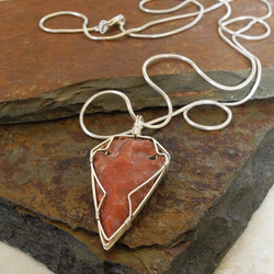 Sterling Silver Wrapped Agate Arrowhead Necklace - Roca Jewelry Designs