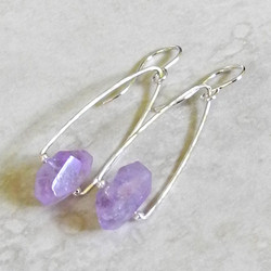 Hammered Silver Earrings with Amethyst Nuggets - Hammered Collection