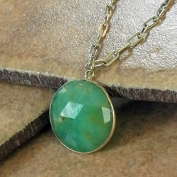 Faceted Chrysoprase Pendant on Sterling Chain - Roca Jewelry Designs