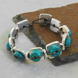 Small Silver Square Tile Bracelet with Turquoise - Ambrosia Collection
