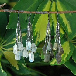 French Cut Steel Beaded Earrings with Gemstone Nuggets - Della Terra Collection