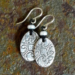 PMC Sterling Silver Floral Stamped Oval Earrings with White Pearl on Leather - Roca Jewelry Designs