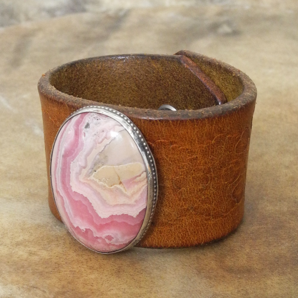 Sky Stone Leather Cuff Bracelet with Pink Rhodochrosite - Roca Jewelry Designs