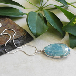 Sterling Wire Wrapped Aquamarine Pendant on Snake Chain - One Of A Kind Collection