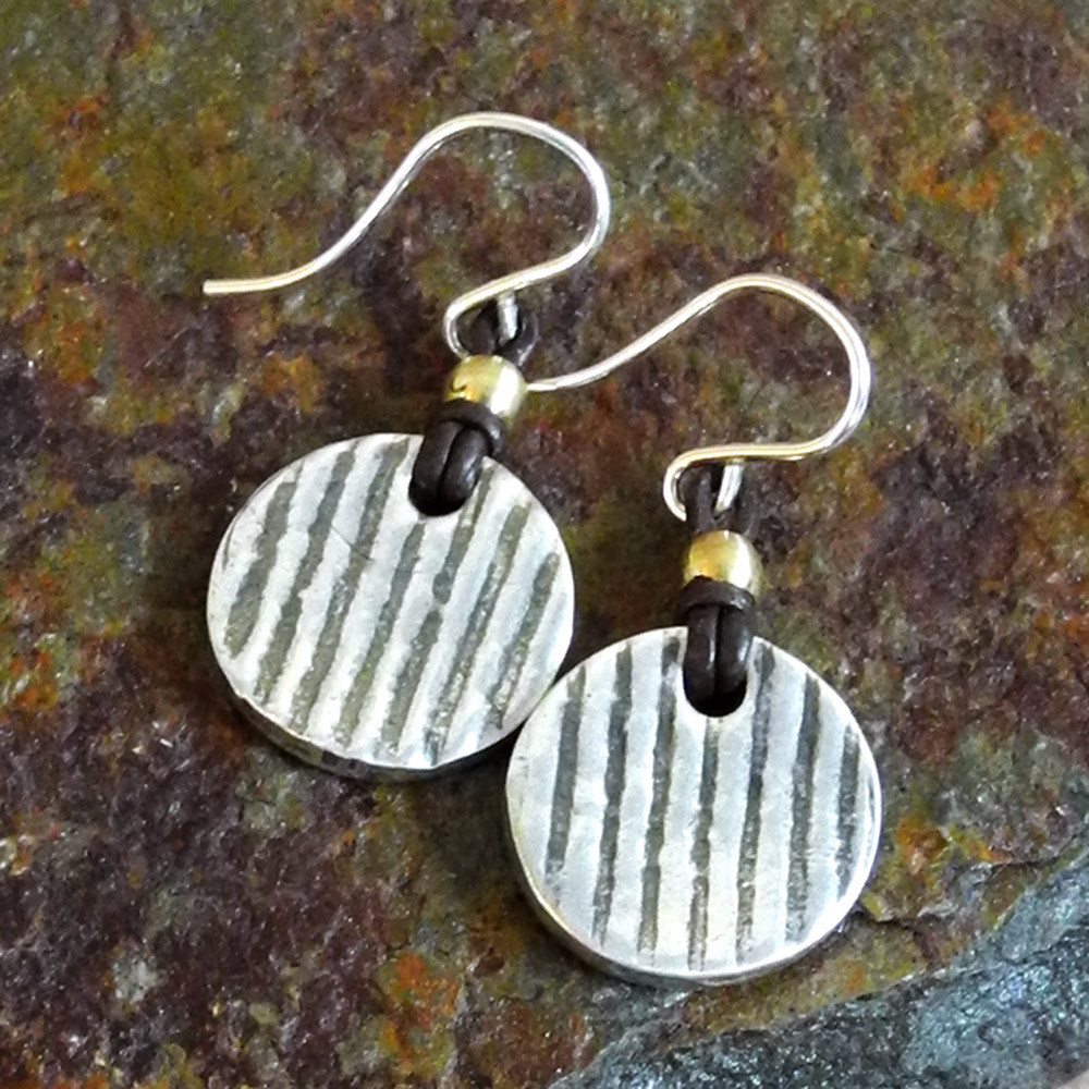 Sterling PMC Striped Disc Earrings on Leather - Roca Jewelry Designs