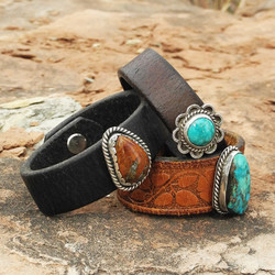 Group of Small Leather Cuff Sky Stone Bracelets - Roca Jewelry Designs