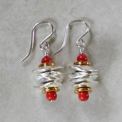 Stacked Silver Little Chunk Earrings with Coral Pearl - Ambrosia Collection
