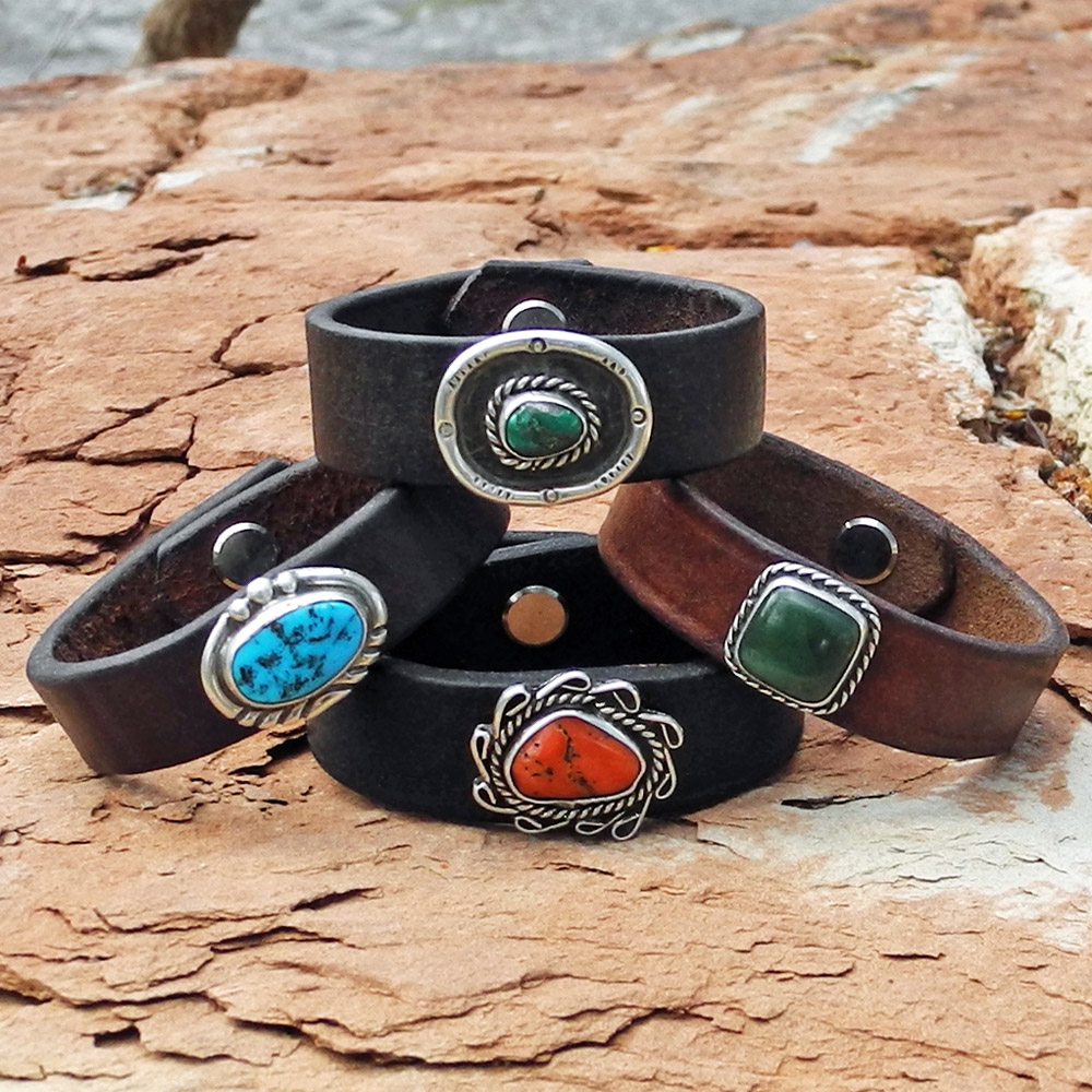 Group of Rein Leather Cuff Bracelets - Sky Stone Collection