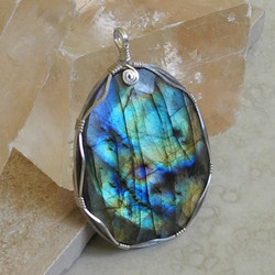 Sterling Silver Wrapped Labradorite Pendant - Roca Jewelry Designs