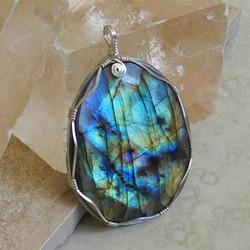 Sterling Silver Wrapped Labradorite Pendant - Roca Jewelry Designs