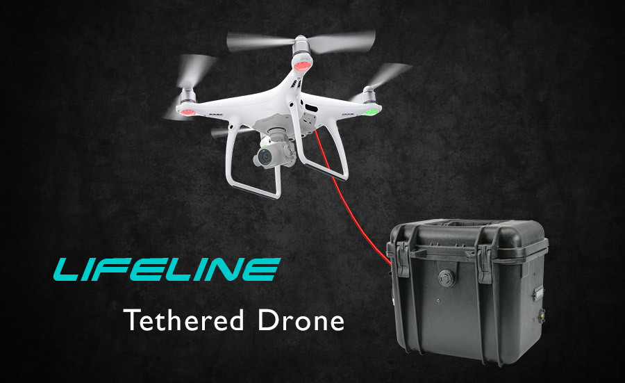 Lifeline tethered drone system for DJI Drones