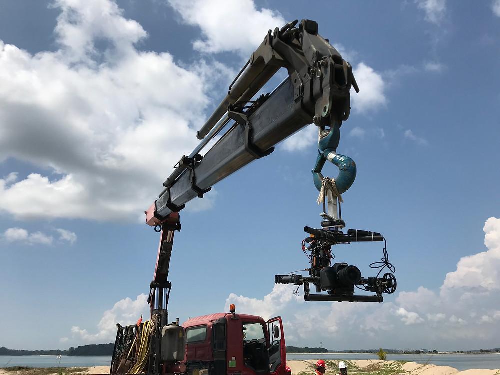 The crane cam - DSLR camera capture aerial images.