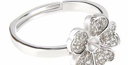 Princess Flower Sterling Silver Ring- adjustable