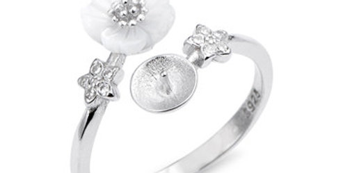 Cherry Blossom Sterling Silver Ring - adjustable