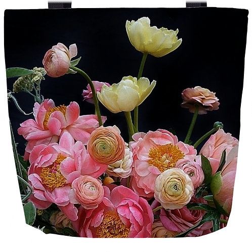 "Tote Bag Coral Peony | 16"" x 16"""