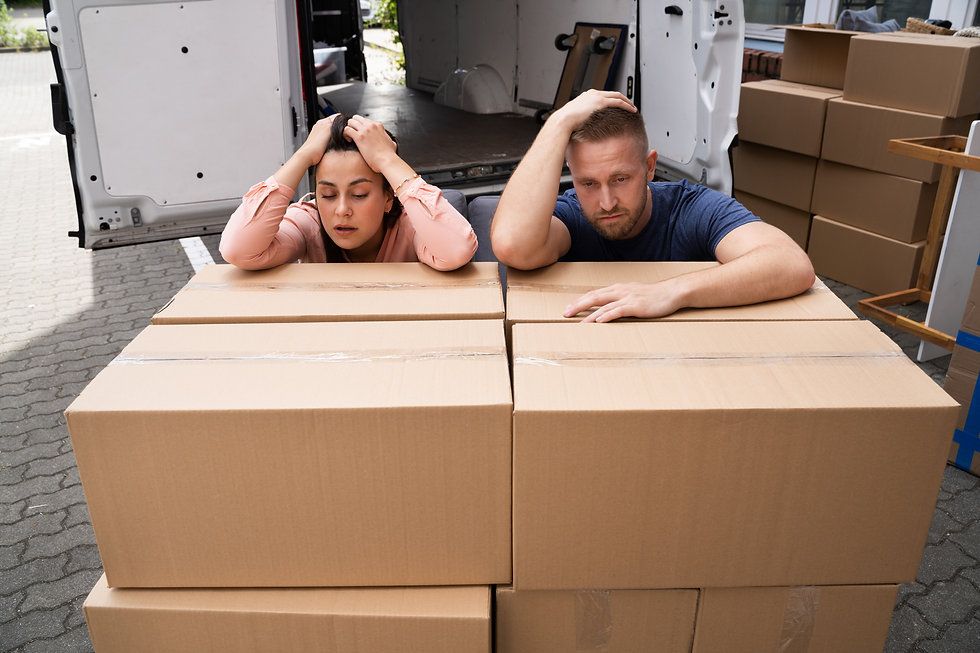 Home Move Stress. Frustrated Couple Movi