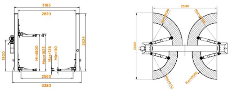 Dimensões elevador apollo 302-2B