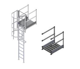 Palier de sortie haut : échelle à crinoline