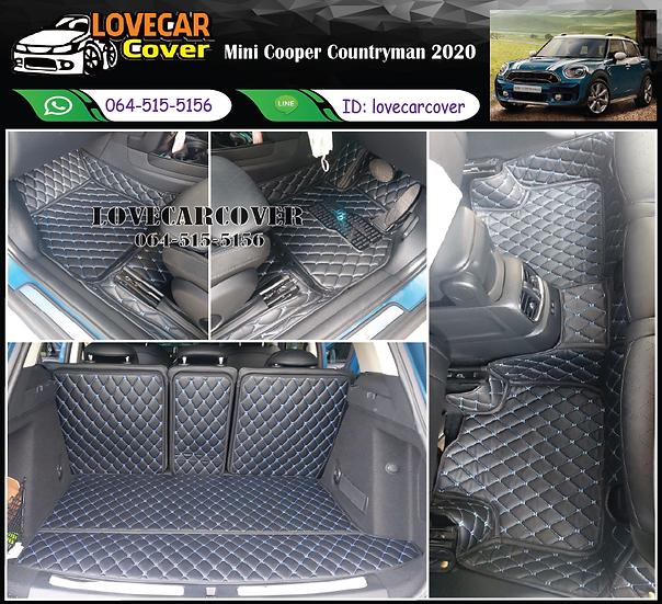 พรมรถยนต์ 6D สีดำด้ายฟ้า Mini Cooper Countryman 2020