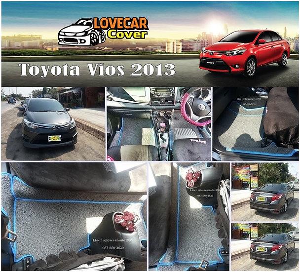 พรมดักฝุ่นรถยนต์ (พรมไวนิล) สีเทาขอบสีฟ้า Toyota Vios 2013