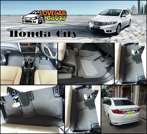 พรมดักฝุ่นรถยนต์ (พรมไวนิล) สีเทาขอบสีดำ Honda City