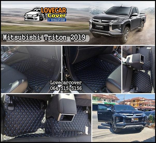 พรมรถยนต์ 6D สีดำด้ายฟ้า Mitsubishi Triton 4Door 2019