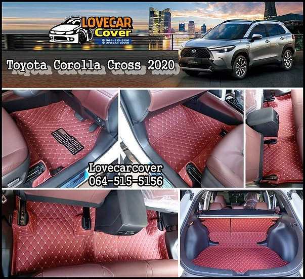 พรมปูพื้นรถยนต์ 6D สีแดงไวท์ Toyota Corolla Cross 2020