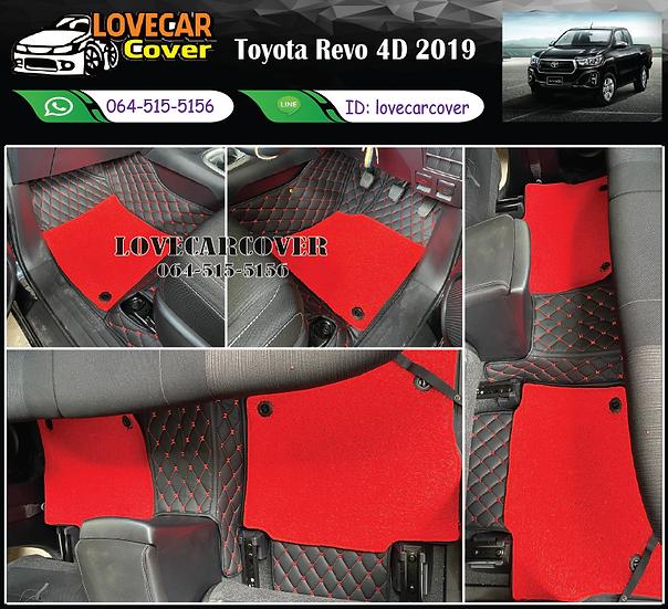 พรมรถยนต์ 7D สีดำด้ายแดง+ไวนิลสีแดง Toyota Revo 4D 2019