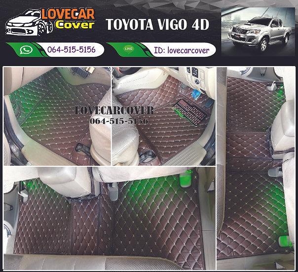 พรมปูพื้นรถยนต์ 6D สีกาแฟ Toyota Vigo 4D