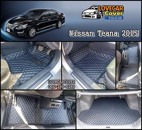 พรมรถยนต์ 6D สีดำด้ายฟ้า Nissan Teana 2015