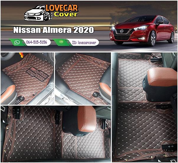 พรมรถยนต์ 6D สีกาแฟ Nissan Almea 2020