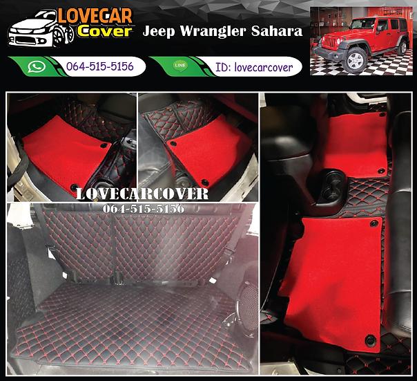 พรมรถยนต์ 7D สีดำด้ายแดง + ไวนิลสีแดง Jeep Wrangler Sahara