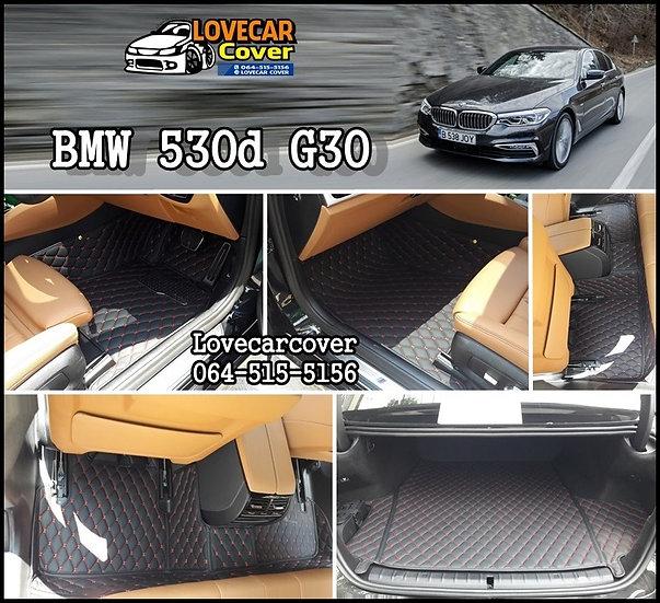 พรมรถยนต์ 6D สีดำด้ายแดง BMW 530d G30