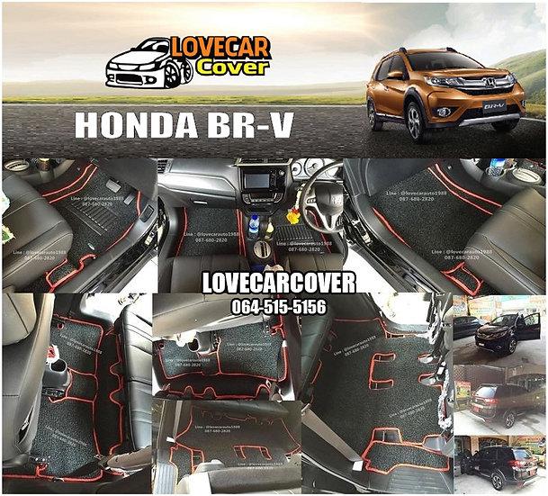 พรมดักฝุ่นรถยนต์ (พรมไวนิล) สีดำขอบแดง Honda BR-V