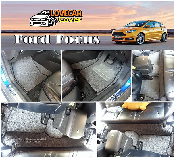 พรมดักฝุ่นรถยนต์ (พรมไวนิล) สีเทาขอบสีดำ Ford Focus