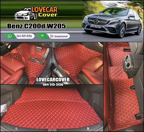 พรมรถยนต์ 6D สีแดงไวน์ Benz C200d W205