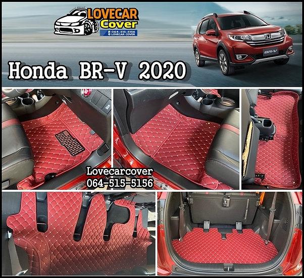 พรมปูพื้นรถยนต์ 6D สีแดงไวท์ Honda BR-V 2020