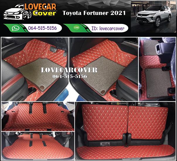 พรมรถยนต์ 7D สีแดงสด+ไวนิลสีน้ำตาล Toyota Fortuner 2021